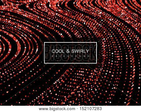 Luxury festive background with shiny red ruby glitters. Vector illustration of red glittering swirled stripes texture