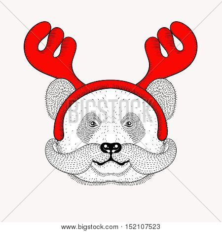 Sketch panda face with mustache in a reindeer antlers. Hand drawn doodle vector illustration for Christmas greeting cards, posters.