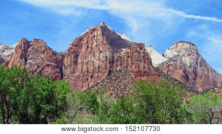 Mountain View with colorful rocks of Zion National Park in southwestern Utah in the United States. Light, natural colors.