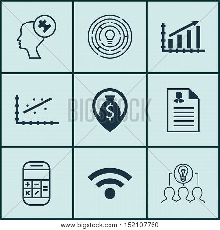 Set Of 9 Universal Editable Icons For Business Management, Human Resources And Computer Hardware Top