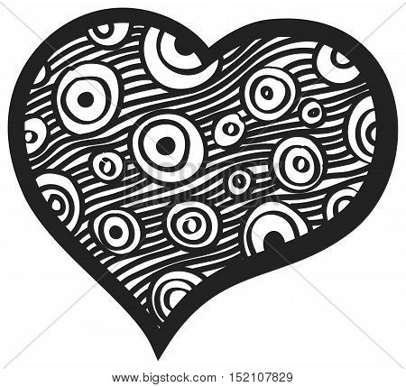 Heart with round and strips for Valentine day card. Heart for invitation cards