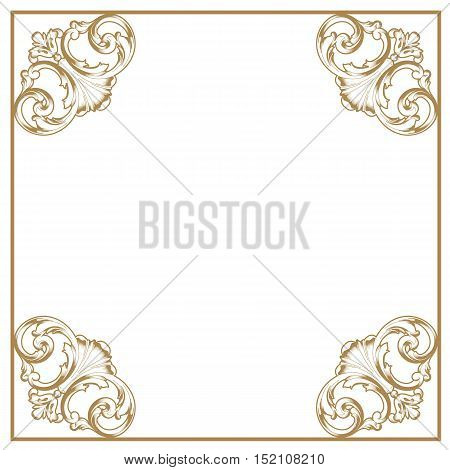 Golden frame, vintage frame, baroque frame, scroll frame, ornamental frame, engraving frame, antique frame, acanthus frame, foliage frame, swirl decorative frame. vector