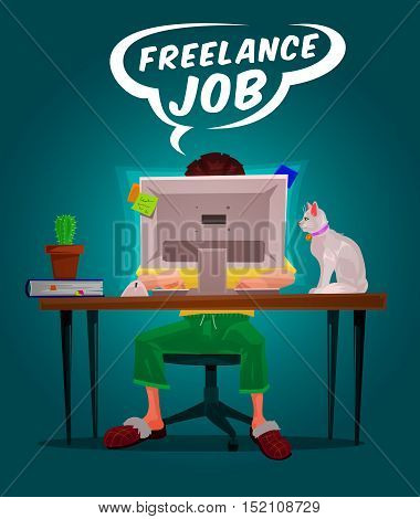 Vector illustration of a man freelance working on the computer
