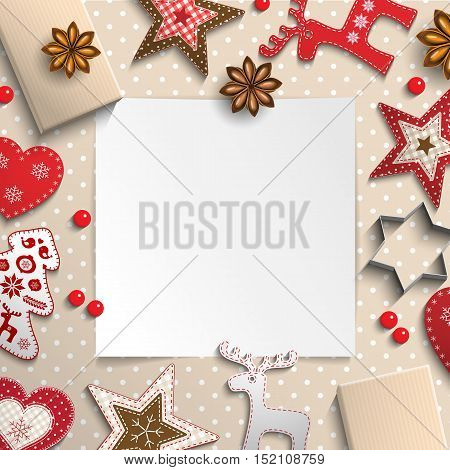 Abstract christmas background, white sheet of paper lying among small scandinavian styled decorations on polka dot beige background, inspired by flat lay style, vector illustration, eps 10 with transparency