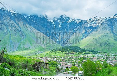 Stepantsminda mountain resort offers different attractions for the tourists including hiking sightseeing horse riding and discovering Kazbegi National Park and historic landmarks Georgia.