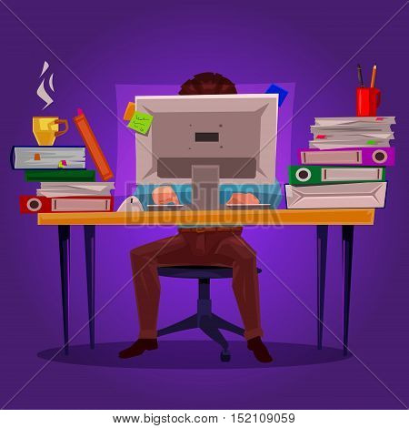 Vector illustration of a man working on the computer at a table littered with papers