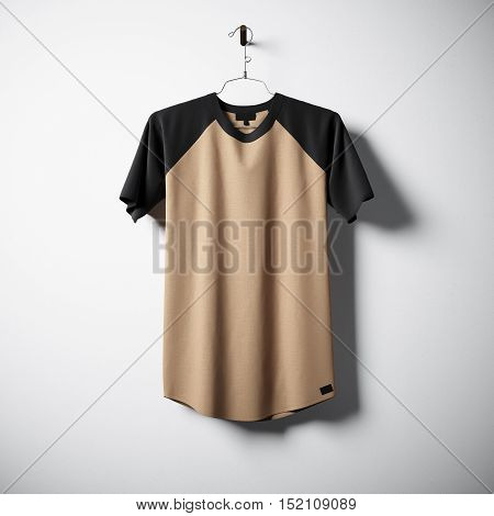 Blank cotton tshirt of brown color hanging in center of empty concrete wall. Clear label mockup with highly detailed texture materials. Square. Front side view. 3D rendering