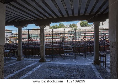 Chinchon Spain - October 15 2016: arcades of the square most of chinchon converted in square of bulls during the celebration traditional of each year Chinchon Madrid province Spain