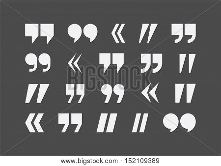 Abstract flat style quote marks vector icons