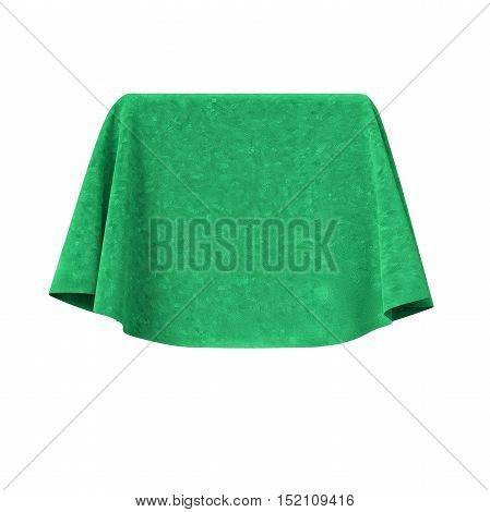 Box covered with green velvet fabric. Isolated on white background. Surprise, award, prize, presentation concept. Reveal the hidden object. Raise the curtain. 3d illustration.