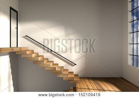 3D rendering : illustration of side view of stair zone step up to next floor in a spacious apartment with sunrise or sunset moment lighting