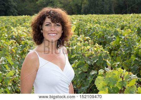 Woman Winemaker, In Vineyard During Wine Harvest Season