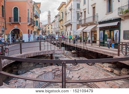 VERONA ITALY - SEPTEMBER 5 2015: The ancient ruins of the old city in center of Verona. Italy