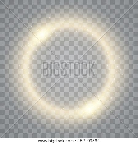Round shiny frame background with lights. Abstract luxury light ring. Vector illustration