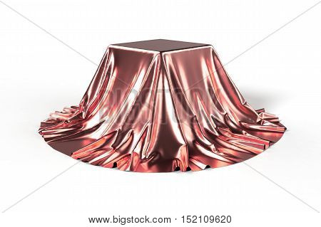 Box covered with red fabric. Isolated on white background. Surprise, award, prize, presentation concept. Showroom stand. Reveal a hidden object. Raise the curtain. Photo 3d illustration.