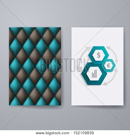 Set of templates for brochure, poster, placard, banner, cover design with business infographic in geometric graphic style. Abstract modern back and front flyer backgrounds. Vector illustration EPS10
