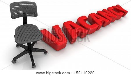 Vacancy. Office chair and the word