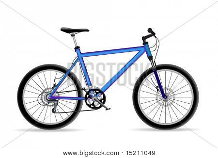 vector blue mountain bicycle isolated on white