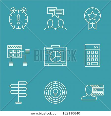 Set Of Project Management Icons On Discussion, Opportunity And Schedule Topics. Editable Vector Illu
