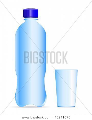 vector plastic bottle and glass
