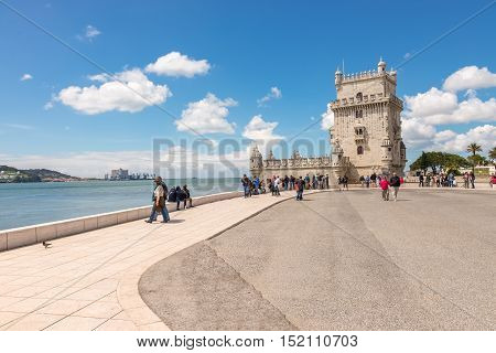 Belem Tower Located On The Tagus River In Lisbon