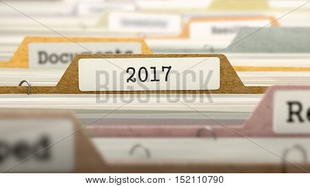 2017 Concept on File Label in Multicolor Card Index. Closeup View. Selective Focus. 3D Render.