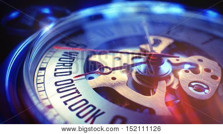 Vintage Watch Face with World Outlook Inscription, Close View of Watch Mechanism. Business Concept. Lens Flare Effect. 3D.