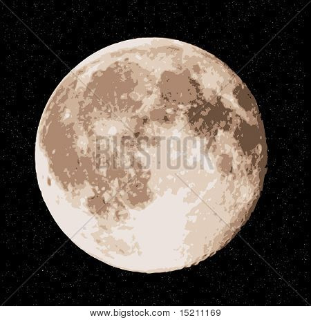 vector realistic full moon at stars sky