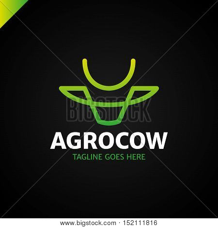 Cow Or Bull Simple Line Logo Green Gradient
