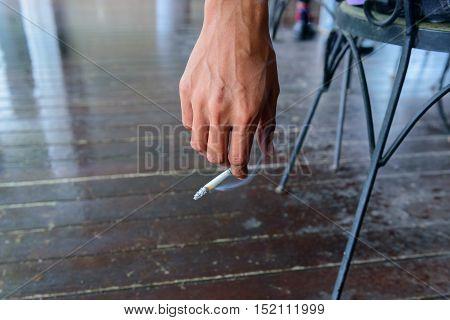 Hand Holding Cigarette While Smoking, Cigarette, Smoking