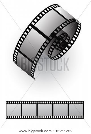 vector film strip roll isolated on white