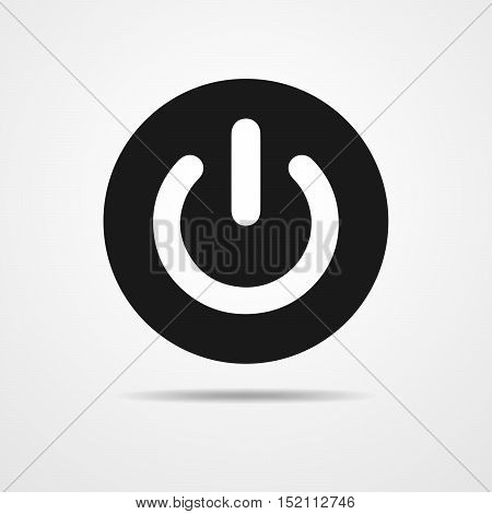 The power icon in flat design. Black power symbol. Vector illustration