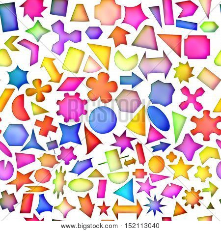 Seamless texture of abstract bright shiny colorful geometric shapes Isolation on a white background