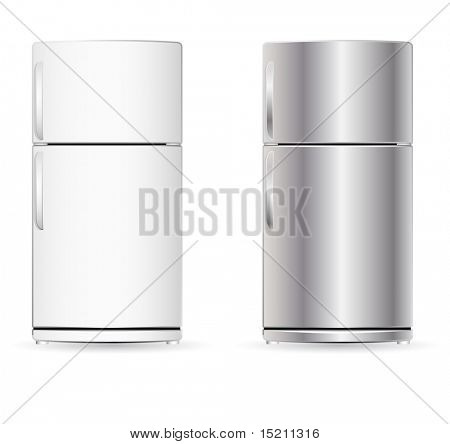 vector fridge isolated on white