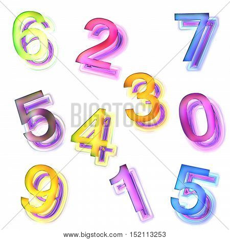 Seamless texture of abstract bright shiny colorful digit Isolation on a white background