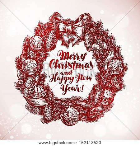 Merry Christmas and Happy New Year. Xmas wreath, garland sketch