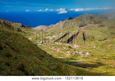 Valley of El Palmar in the Teno mountain range with the hill form of a sliced pie Tenerife Canary Islands