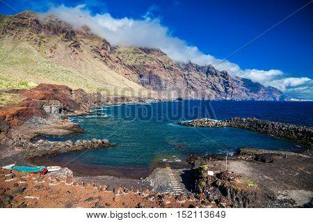 the small beach Playa Punta De Teno at the Rural Park in Tenerife Canary Islands Spain