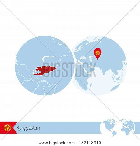Kyrgyzstan On World Globe With Flag And Regional Map Of Kyrgyzstan.