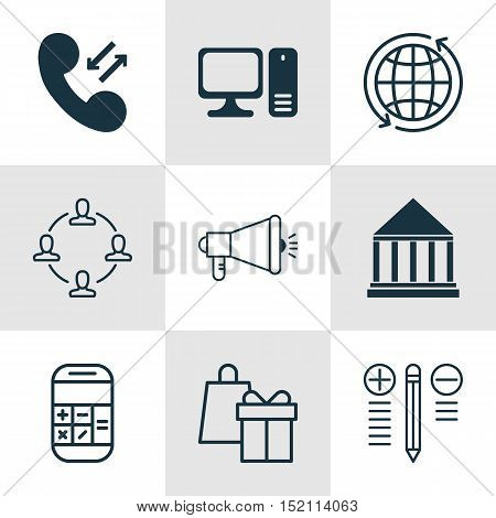 Set Of 9 Universal Editable Icons For Project Management, Computer Hardware And Education Topics. In