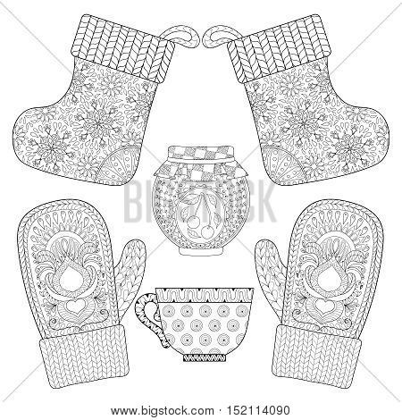 Winter knitted mittens, socks, cup of tea, jam in zentangle style. Hand drawn Christmas decorative elements for adult coloring book. Vector illustration for New Year 2017 greeting cards, posters.