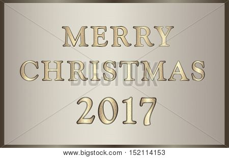 Elegant vector illustration Merry Christmas 2017 in golden-brown tones with glitter text. Can be used for invitations, posters, promotion leaflet, greeting cards, web design etc. Horizontal banner.