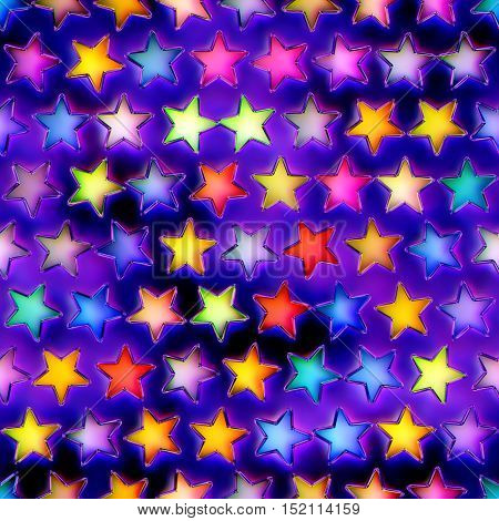 Seamless texture of abstract bright shiny colorful stars.