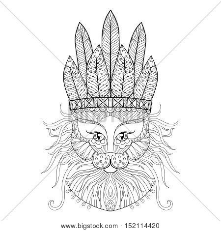 Fluffy Cat with war bonnet in zentangle style. Freehand sketch for adult antistress coloring page. Ornament artistic vector illustration for tattoo, t-shirt print. Animal collection.