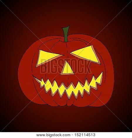 hand drawn jack-o-lantern shining in scary night