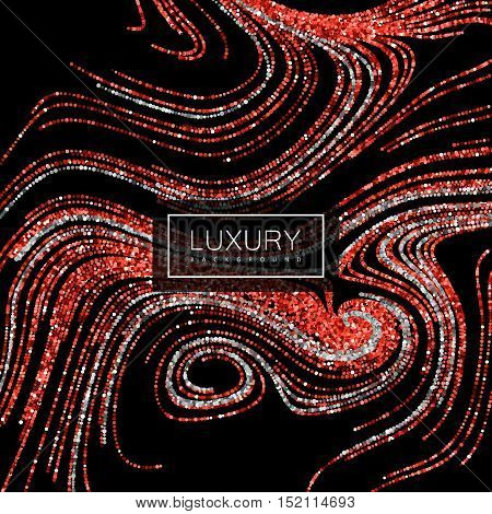 Luxury festive background with shiny red ruby and silver glitters. Vector illustration of red glittering swirled stripes texture