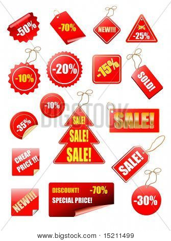 vector sale tag collection with christmas tree