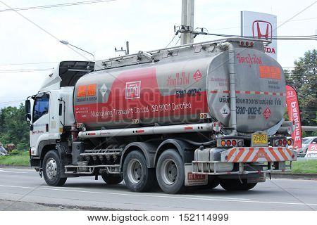 CHIANGMAI THAILAND - OCTOBER 6 2016: Oil Truck of Muengluang Oil transport Company. On road no.1001 8 km from Chiangmai city.