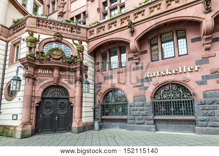 Frankfurt am Main Germany - May 23 2016: Typical architecture in old town Ratskeller - the name of the old restaurant in Frankfurt am Main Hesse Germany.