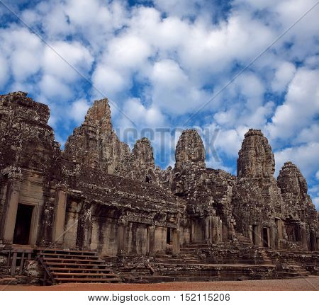 Facade of ancient Prasat Bayon Temple (late 12th - early 13th century) in Angkor Thom Cambodia